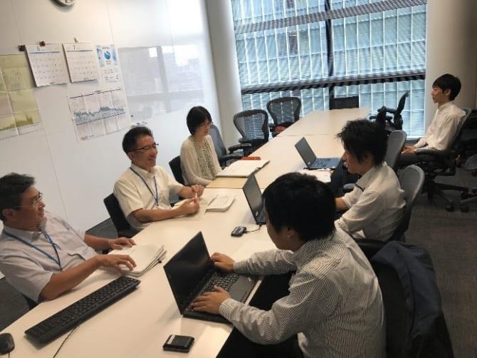 ※プロジェクト定例会風景:グループ各社からグループ本社に参加する社員の方々との打合せ